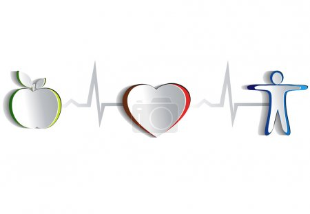 Illustration for Healthy lifestyle symbol collection. Paper looking design. Healthy food and fitness leads to healthy heart and life. Symbols connected with heart rate monitoring line. Isolated on a white background. Isolated on a white background. - Royalty Free Image