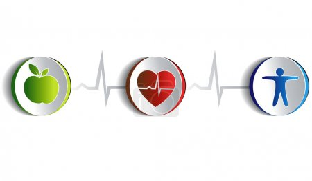 Illustration for Healthy lifestyle symbol collection. Paper looking design. Healthy food and fitness leads to healthy heart and life. Symbols connected with heart rate monitoring line. Isolated on a white background. - Royalty Free Image