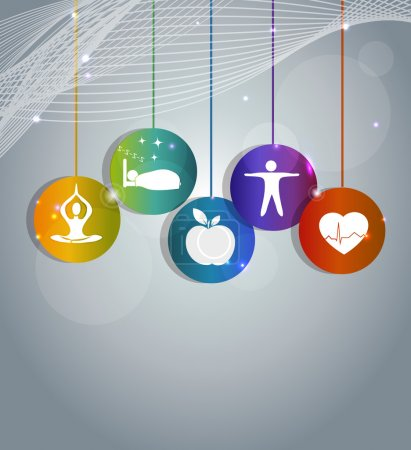 Illustration for Health care concept illustration. Wellness symbols, Healthy heart, healthy food, good sleep, yoga and meditation. Healthy living leads to healthy heart. Beautiful bright colorful design. - Royalty Free Image