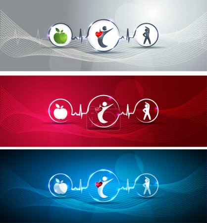 Photo for Medical health care concept illustration set. Human with healthy heart. Healthy food and fitness leads to healthy heart and life. Symbols connected with heart rate monitoring line. - Royalty Free Image