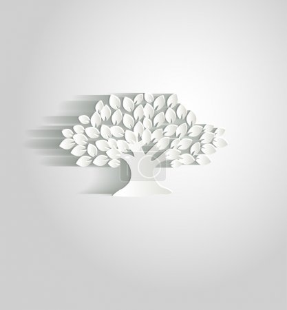 Beautiful white paper tree with shadow