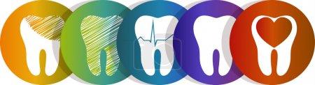 Illustration pour Collection de symboles dentaires, beaux dessins colorés. Isolé sur fond blanc. Symboles du concept de soins dentaires, traitement et soins dentaires . - image libre de droit