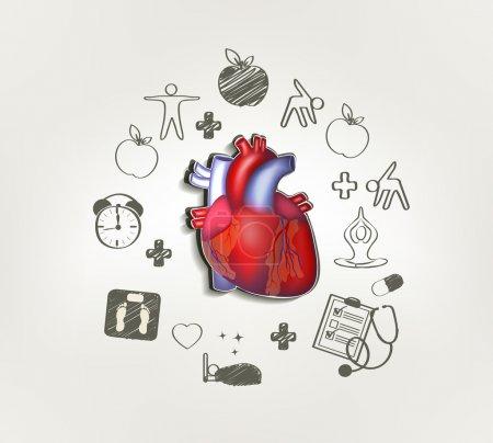 Illustration pour Coeur sain au milieu de la main pointes dessinées autour. Aliments sains, fitness, pas de stress, poids santé, visites chez le médecin, un bon sommeil conduit à un cœur en bonne santé . - image libre de droit