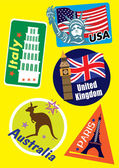 United Stated Europe & Australia Country Travel Icon Set