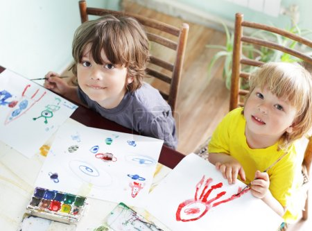 Photo for Children draw in home - Royalty Free Image