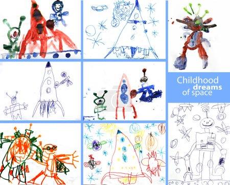 Photo pour Dessin d'enfant réel sur le thème de l'espace - image libre de droit