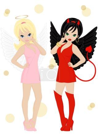 Illustration pour Ange et démon femelle aspect isolé sur fond blanc - image libre de droit