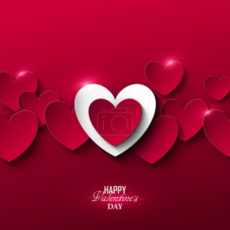 Illustration for Bright Valentines day background with hearts - Royalty Free Image