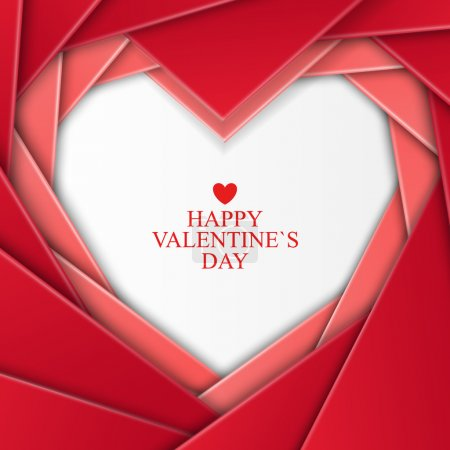 Illustration for Bright Valentines day background with heart on red background - Royalty Free Image