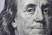 Macro closeup of Benjamin Franklin on the new 100
