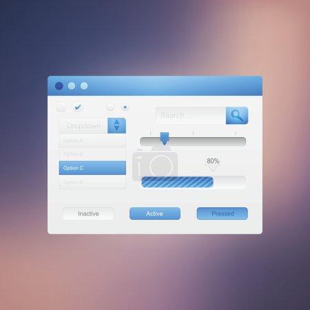 Web site design navigation elements with icons set