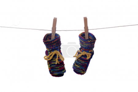 Baby socks drying on line