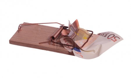 50 euro bank note in mouse trap