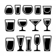 Set of different 14 drink glasses icons...