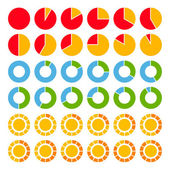 Set of brightly colored pie charts EPS8
