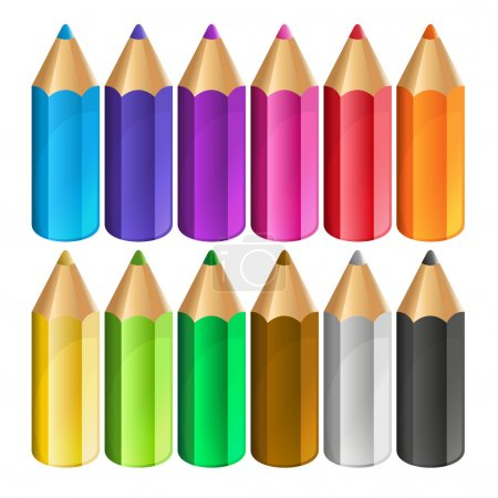 Illustration for Colour pencils isolated on white background. Vector - Royalty Free Image