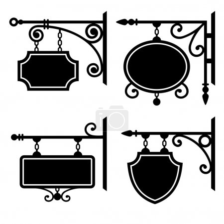 Illustration for Set of retro graphic forged signboards. Vector. - Royalty Free Image