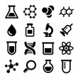Chemical icons set on white background. Vector....