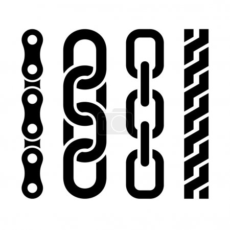 Metal chain parts icons set on white background. Vector.