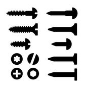 Screws nuts and nails icons set