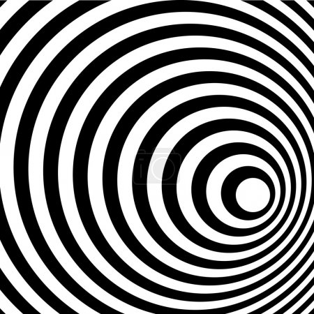 Abstract Ring Spiral Black and White Pattern Background.