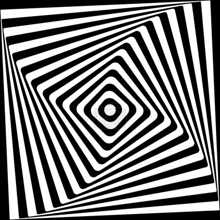 Illustration for Abstract square spiral black and white pattern. Vector illustration. - Royalty Free Image
