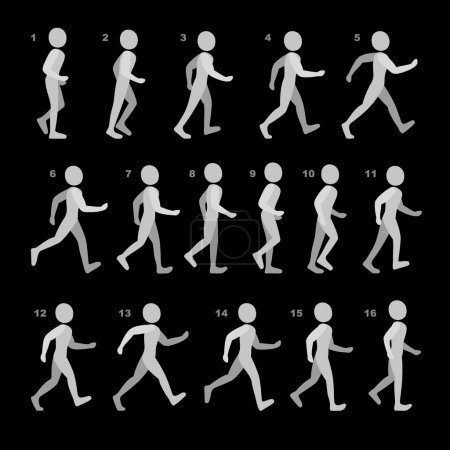 Illustration pour Phases of Step Movements Man in Walking Sequence for Game Animation. Illustration vectorielle . - image libre de droit