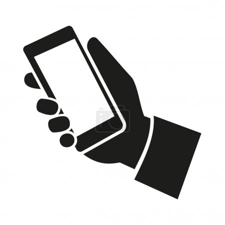 Mobile phone in hand icon. Vector