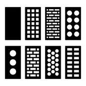 Different Type Bricks Icons Set Vector