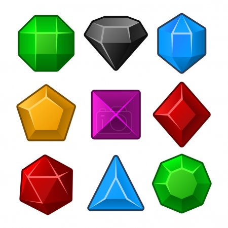 Set of Multicolored Gems for Match3 Games. Vector