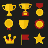 Trophy and Awards Icons Set in Flat Design Style. Vector