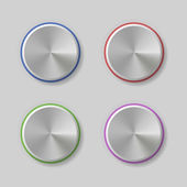Four Volume Control Dial Button with Color Light Rings Vector illustration