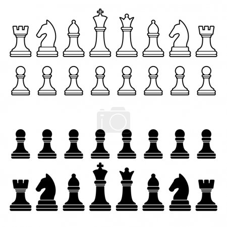 Chess Pieces Silhouette - Black and White Set. Vector