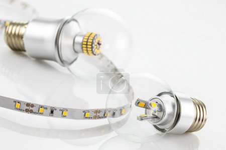 Photo for E27 LED bulb and LED strips without silicone protection made a similar technologies - Royalty Free Image