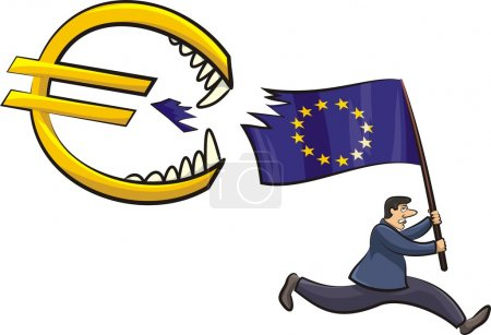 Illustration for Threat to the euro zone, currency crisis in the eurozone - Royalty Free Image
