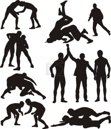 wrestling silhouettes