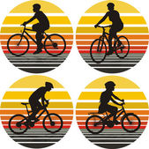 Bicyclists icons on the background of sunset sky