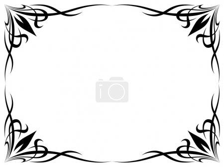 Illustration for Vector simple black tattoo ornamental decorative frame isolated - Royalty Free Image