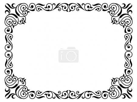 Illustration pour Calligraphie écriture frisée cadre baroque noir isolé - image libre de droit