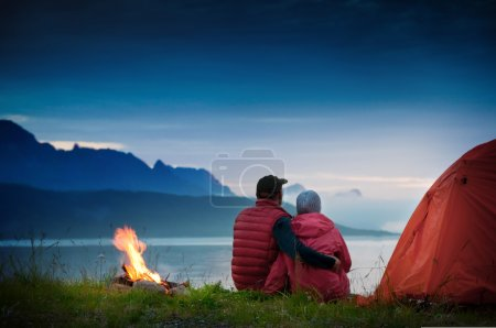 Photo for Couple with tent near seaside - Royalty Free Image