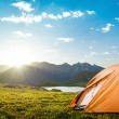 Tourist tent camping in mountains...