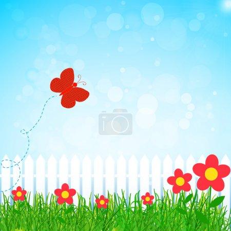 Illustration pour Vecteur jardin printemps avec papillon - image libre de droit