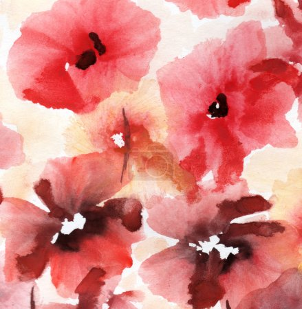 Photo for Cute floral background. Watercolor poppies - Royalty Free Image