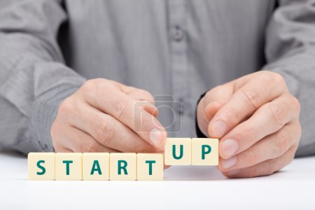 Photo for Businessman complete his startup business. Investor accelerate start-up project concept - Royalty Free Image