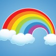 Vector symbol of rainbow and clouds in the sky...