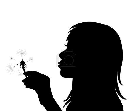 vector girl blowing the dandelion