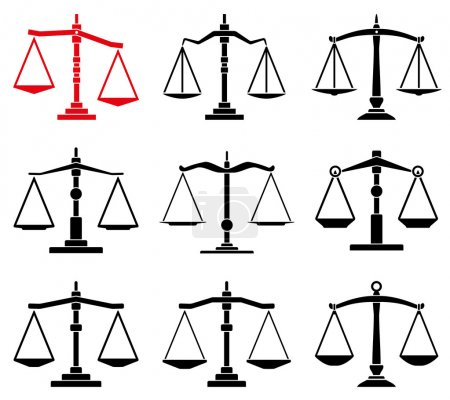 Illustration for Vector set of law scales icons - Royalty Free Image