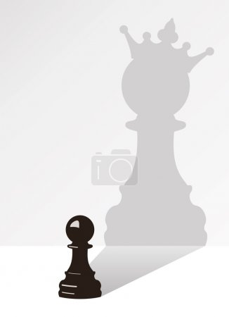 Illustration for Vector chess pawn with the shadow of the same pawn, but with a crown - Royalty Free Image
