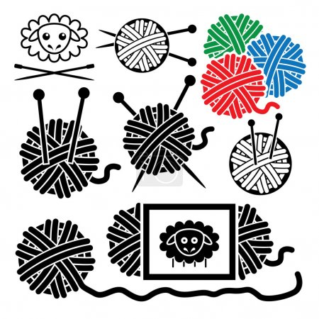 Vector icons of yarn balls with sewing equipment needles and she