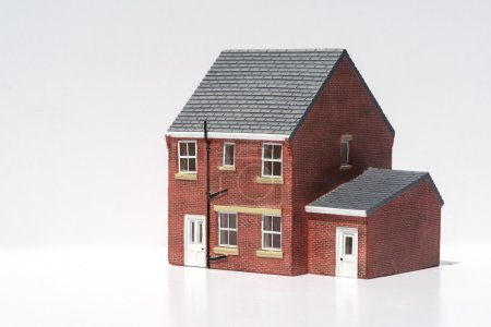 Photo for Model of detached house on white background - Royalty Free Image